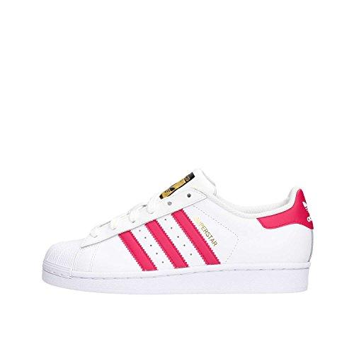 Adidas Superstar Foundation, Zapatillas Unisex Infantil, Blanco / Fucsia, 36 2/3 EU