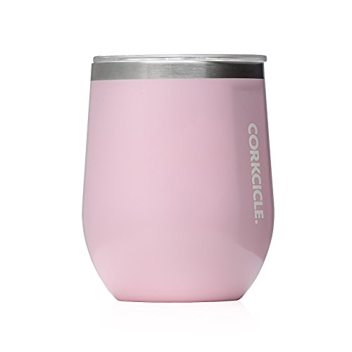 Corkcicle 12 oz Triple-Insulated Stemless Glass (Perfect for Wine) - Gloss Rose Quartz