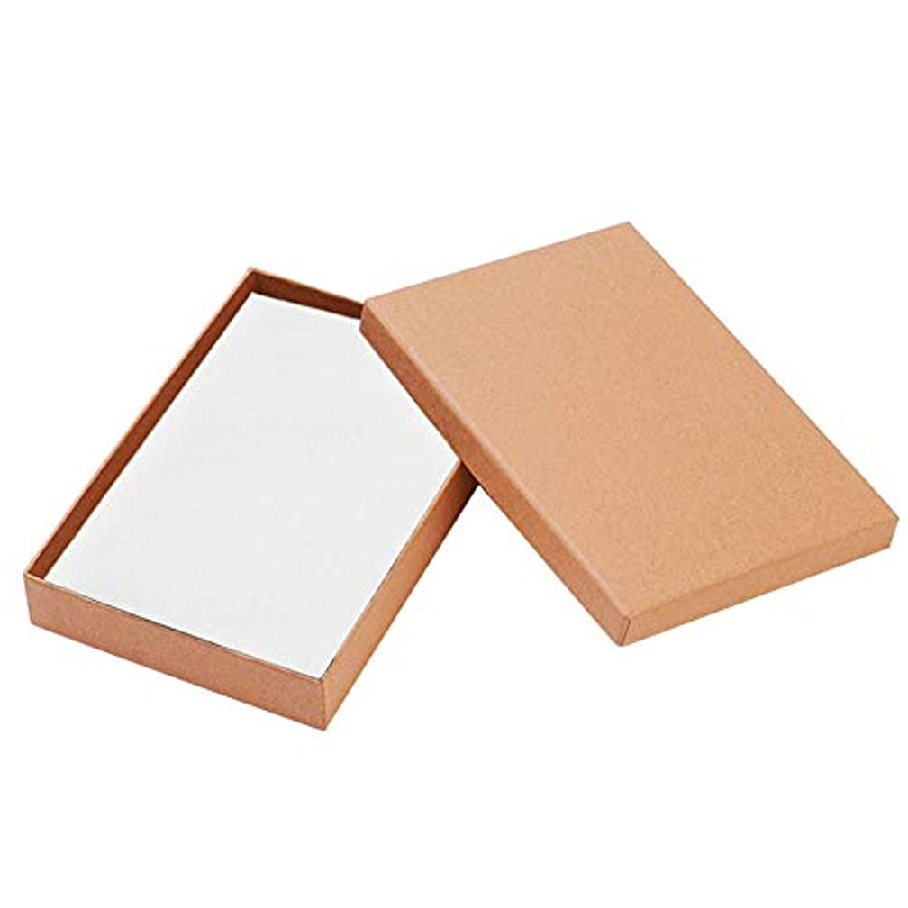 BENECREAT 12 Pack Large Size Kraft Rectangle Cardboard Jewelry Boxes for Jewelry Set, 7 by 5 by 1-Inch, Brown