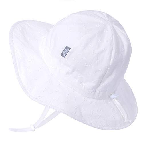 Jan & Jul UV-Schutz-Sonnenhut aus Baumwolle 50 UPF, für Mädchen, Verstellbar, mit Halteband (L: 2-5 Jahre, Weiß Gestickt)