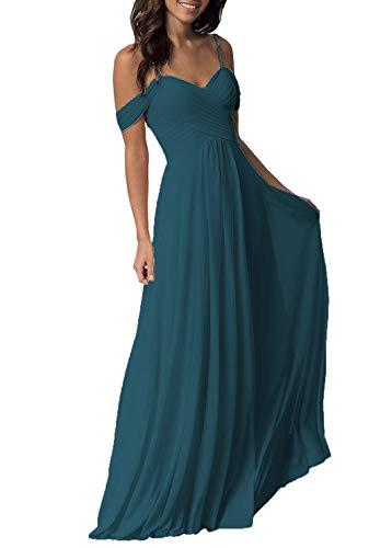 Plus Size Wedding Bridesmaid Dresses Long Off The Shoulder Chiffon Maxi Formal Evening Dress for Women Dark Teal