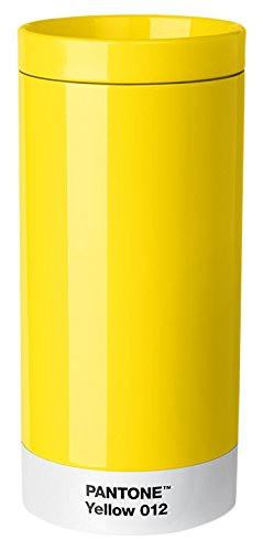 Pantone Reisebecher, Edelstahl, ABS, Yellow 012, 7.5 x 7.5 x 16.4 cm