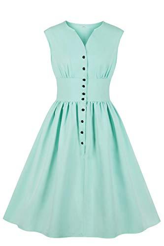 MisShow Damen smaragden Kleid für Elegante Mädchen im Sommer mit Knopf Ballkleid Hellgrün L