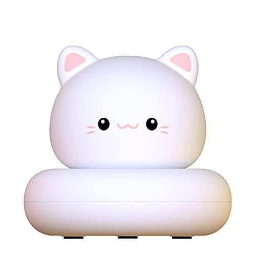 YYHMKB Luz de noche de silicona Lámpara de escritorio LED para niños Decoración de cabecera Hogar inteligente Luz de noche Usb Regalos creativos Linda mascota blanca gatito luz de noche linda