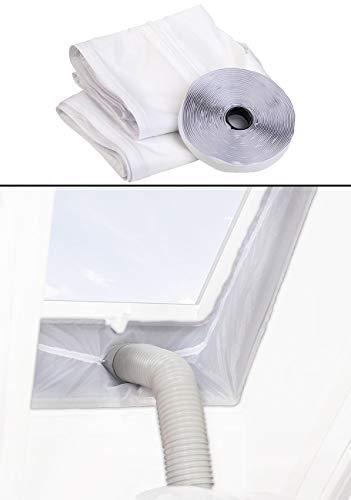 Sichler Haushaltsgeräte Klimaanlage Fensterkit: Abluft-Dachfensterabdichtung für mobile Klimageräte, Montage-Klettband (Fensterdichtung Klimaanlage)
