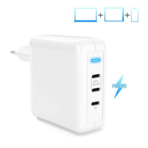 USB-C PD Ladegerät, 78W Ladekabel Netzteil PD 3.0 Ladegerät Type-C Schnellladegerät Faltbarer Adapter,60W und 18W USB C DREI Anschlüsse für iPhone 11/Pro/Mac Book Pro/AirPods Pro/Galaxy