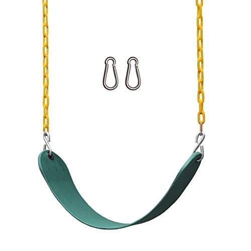 Jungle Gym Kingdom Swings for Swing Set - Heavy Duty Parts, Chain & Seat - Replacement Playground Accessories Kit for Kids Backyard Outdoor Swingset (Green)