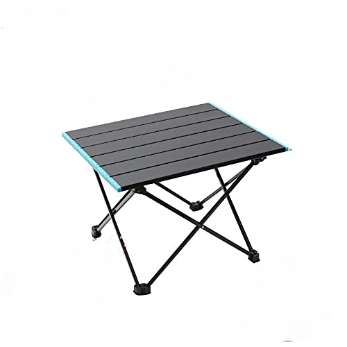 JunJia Portable Camping Table with Aluminum Table Top and Carry Bag, Prefect for Dining, Cutting, Cooking, Picnic, Outdoor, Cooking, Beach, Hiking, Fishing Cooking & Easy to Clean-Black  S