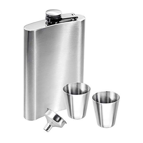 FOCCTS 8 oz,224ml Edelstahl Flachmann & Schraubverschlussdeckel, Flachmänner mit 2 Tassen und 1 Trichter, Flachmann Set für Whisky/Wodka/Wein/Alkohol, Silber