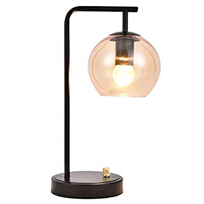 Berliget Modern Industrial Dimmable Metal Body Glass Shade Round Black Bedside Desk Table Lamp, Nightstand Lamp for Living Room Table Top Bedroom Dining Room Office