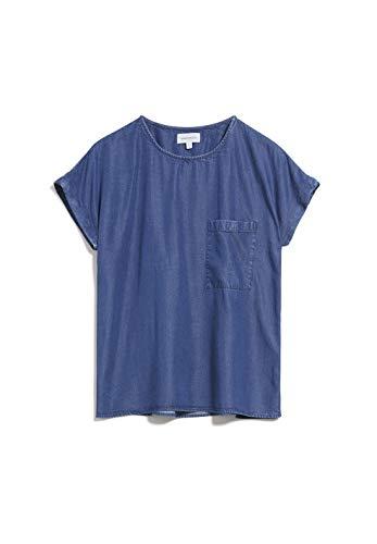 ARMEDANGELS AJALAA - Damen Bluse aus Tencel™ Lyocell Mix L Basic Denim Blue Bluse Kurzarm Relaxed Fit