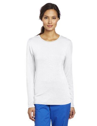 WonderWink Women's Scrubs Silky Long-Sleeve T-Shirt - Small - White