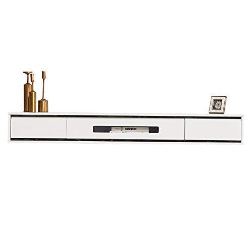 Meuble TV Suspendu,Console Multimédia Flottante,Mural Cabinet De Télévision étagères, étanche et résistant à l'humidité, résistant aux rayures, pour salon, chambre à coucher, bureau/B / 140x24