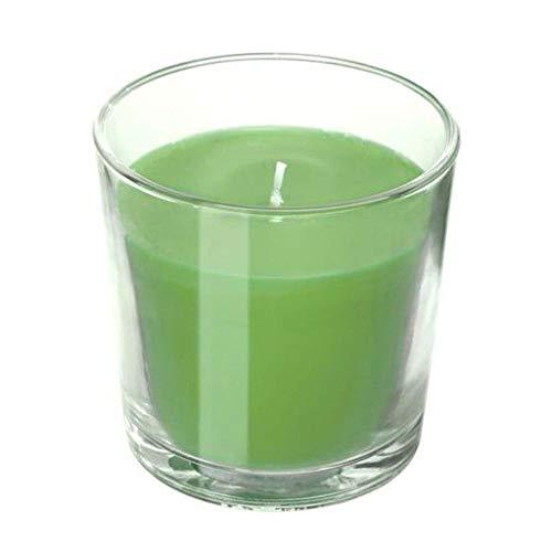 IKEA SINNLIG vela aromática en portavelas de cristal, aroma a manzana, vela color verde
