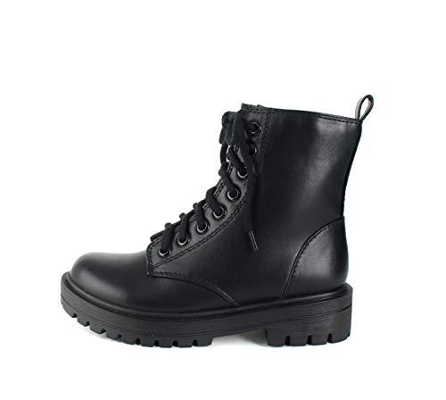SODA FIRM - Lug Sole Combat Ankle Bootie Lace up w/Side Zipper (Black, numeric_10)