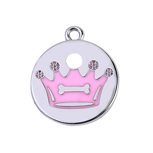 Pet ID Tags for Dog Cat Engraved Personalized Identification Durable & Long Lasting Dog Tags Cat Tags Mini More Crown Print Diamond Dog ID Name Tags Jewelry Necklace (Pink)
