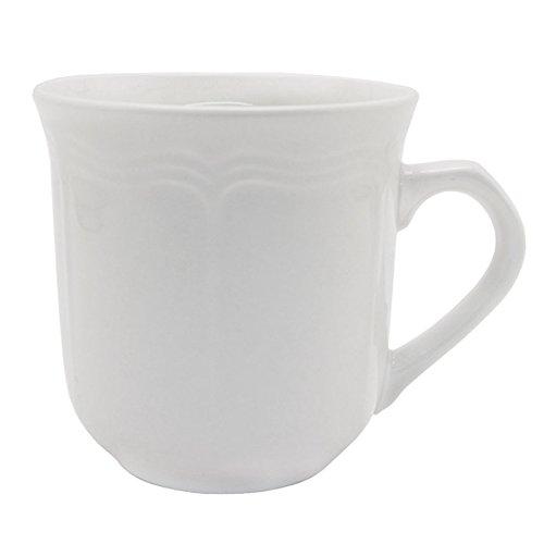 Empire Collection EMP9035 Simply Stoneware Mug, Baroque Rim Imprint, 12 oz Capacity, White (Pack of 24)