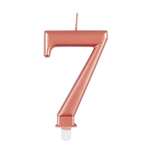 Unique 19627 - Candela per compleanno, numero 7-9 cm, colore oro rosa   metallizzato   1 pezzo, colore: Rosegold