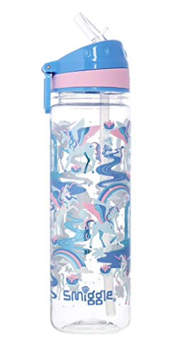 Smiggle Botella de agua 'Drink Up' con boquilla abatible ('Far Away' azul/rosa unicornios)