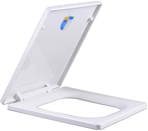 flycqb WC-Deckel, WC-Deckel, quadratischer Soft-Close-Toilettensitz Einfache sofortige Freigabe Schnellbefestigung mit langsam schließenden Scharnieren Einstellbare Moderne Badezimmer-WC-Deckel-O
