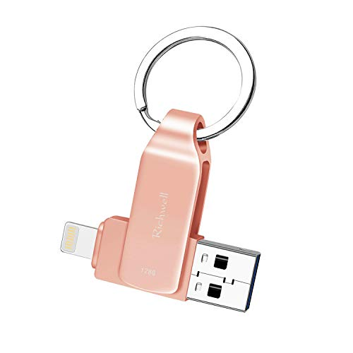 USB Drive 128GB Memory Stick for iPhone Flash Drive USB3.0 Photo Stick for iPad Thumb Drive 3in1 External Drive Richwell for Apple iPhone iPad iOS Mac Android and PC(03Pink128G)