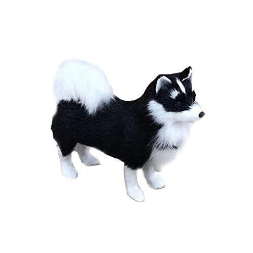 Peluche de Husky de Pelo Artificial Realista, Decoración de Perro de Peluche de Coche, Adecuado para Coche, Estudio, Banco de Trabajo, Escritorio, 9.8 Pulgadas