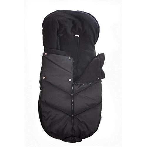 Bozz Ergo zwart universeel extra lang dikke fleece gevoerde voetenbank/Cosytoes/Cosybag die past bij alle kinderwagens, kinderstoelen en reissystemen - afneembare top voor voering