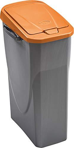 mondex PLS8086 19 Roll Top   Cubo de Basura de Reciclaje con Tapa de plástico (36 x 21,5 x 51 cm, 25 l), plástico, Naranja, 25 L