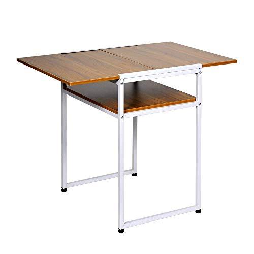 NMDD Muebles Plegable de Hoja abatible Mesa de Cocina de Comedor Extensible para Comedor Plegable Escritorio de computadora Estación de Trabajo Mesa de Madera con Marco de Metal para Espacios peq