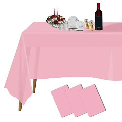 Plastic Tablecloths for Rectangle Tables 3 Pack 54  x 108  Party Table Cloths Disposable for 6 to 8 Foot Tables Indoor or Outdoor Parties Birthdays Weddings Christmas Anniversary Buffet Table (Pink)