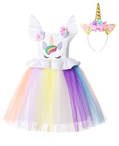 JerrisApparel Disfraz Unicornio Niña Cumpleaños Princesa Boda Fiesta Vestido (4-5 años, 2)
