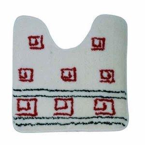 MSV badmat acryl, 50 x 50 cm (WC en wastafel), latex, spiraal rood/witte achtergrond, 80 x 150 cm