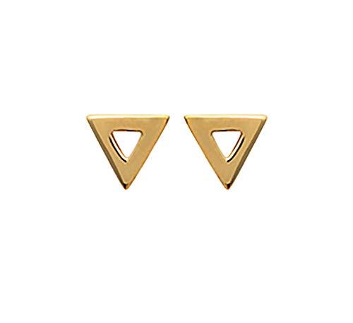 Tata Gisèle - Pendientes chapados en oro de 18 quilates, forma de triángulo, con pulgas, bolsa de terciopelo