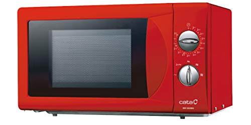CATA Microondas autónomo modelo MM 5020M RD 20 litros de capacidad 5 niveles de potencia, acabado rojo, 50 cm de ancho