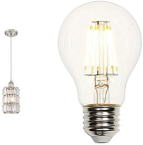 63389 Luminaire suspendu d'intérieur à une lampe, finition nickel brossé avec verre prismatique en cristal avec LED