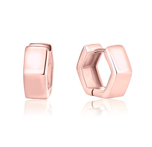 DTP Silver - Pendientes de Aro hexagonal - Creoles Huggies - Plata 925 Plateada en Oro Rosa - Ancho: 5.5 mm - Espesor 2 mm- Diámetro 14 mm