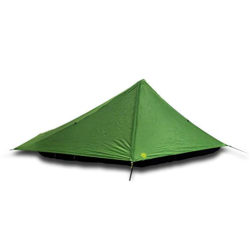 Six Moon Designs Skyscape Scout Green 1 Person Ultralight Tent. Just 40 oz. Affordable Backpacking Tent. Polyurethane Coated 190T Polyester. Trekking Pole Setup. Great First Ultralight.