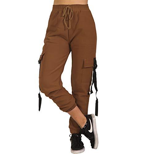 Damen Cargo Army High Waist Thermo Jogging Hose Band Trainingshose Sporthose Fitness P18738 (Rost, L-XL)