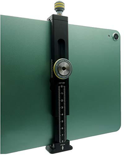 Metall-Stativhalterung für iPad mit kaltem Schuh, kompatibel mit iPad, Aluminium-Tablet-Stativ-Adapter, Acra Schweizer Schiene, passend für iPad 1, 2, 3, 4 Mini Air Pro, Universal-Tablet-Klemme