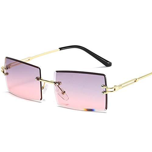 NJJX Gafas De Sol Rectangulares Sin Montura Para Mujer Y Hombre, Gafas De Sol Con Degradado, Gafas De Sol Retro Sin Marco C10