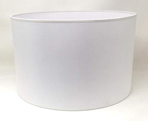 Zylinder Lampenschirm Baumwolle Stoff handgefertigt für Deckenleuchte, Tischleuchte, Stehlampe (Weiß, 45 cm Durchmesser 25 cm Höhe)
