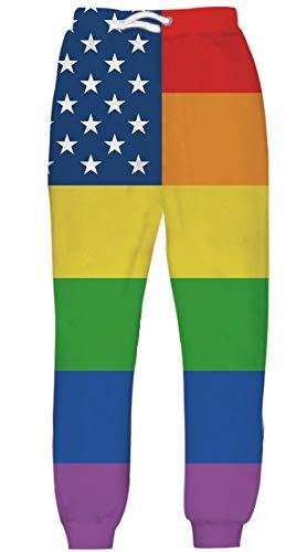UNIFACO Gay Pride Sweatpants Rainbow America Flag Cool Casual Sports Elastic Waist Graphic Trousers