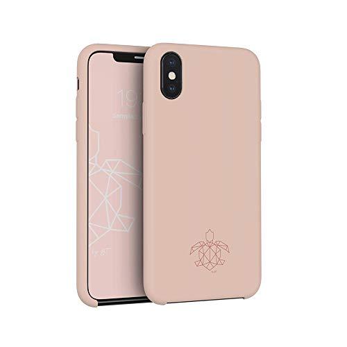 turtleandcase iPhone Hülle mit kostenlosem Panzerglas, Silikon oder Stoff Handyhülle, Dünne Schutzcase & Stoßfest für iPhone (iPhone X, Sand Pink)