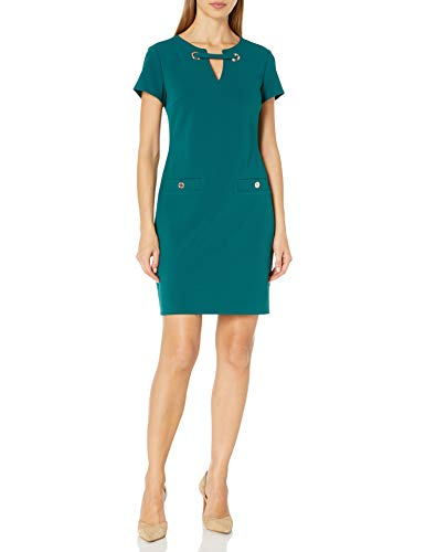 Tommy Hilfiger Women's Legacy Scuba Crepe Two Pocket Dress, Forest, 16