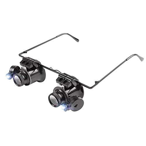 Alqn Visor de lupa con cabeza iluminada con manos libres LED - 20X lupas con luz montadas en la cabeza para lectura, lupa de joyería, reloj y reparación electrónica