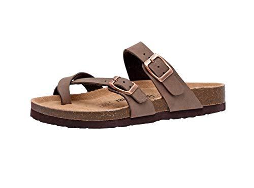 CUSHIONAIRE Women#039s Luna Low Heel Slide Sandals Brown 9 M