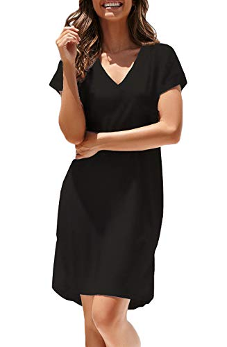 NERLEROLIAN Women T-Shirt Stripe Dress with Pockets V-Neck Knee Length Loose Tunic Summer Dress (Black,M)