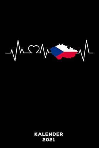 Tschechien Herzschlag: Kalender 2021 und Jahresplaner von Januar bis Dezember mit Ferien, Feiertagen und Monatsübersicht   Organizer, Taschenkalender und Organizer für 1 Jahr
