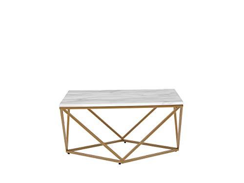 Beliani Moderner Couchtisch mit Marmor-Effekt in Weiß/Gold Malibu