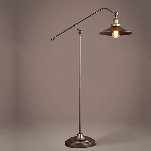 Indische LoftWohnzimmerschlafzimmer-Buch-Bodenlampe des industriellen Windes Retro- Wasserleitung Standleuchten (Farbe : Messing)